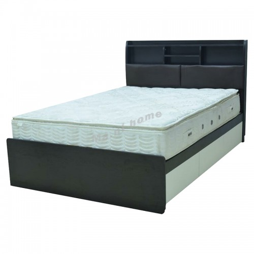 RETTO bed with drawers, dark walnut color, 816430