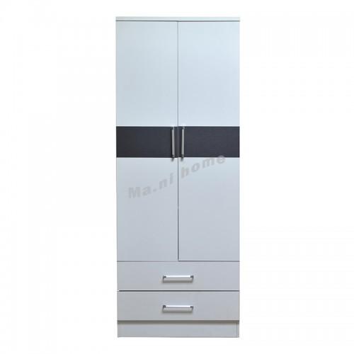 PURO 800 hinge wardrobe with drawers, white + grey, 816021