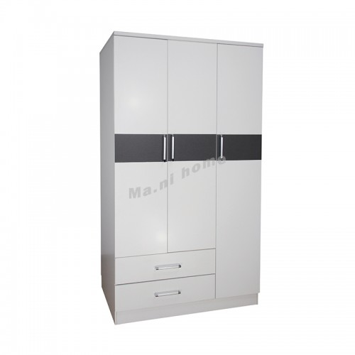 PURO 1200 hinge wardrobe with drawers, 白色+灰色, 816022