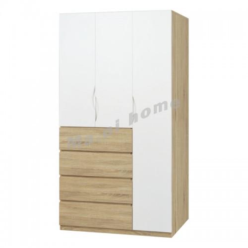 CADE 1200 hinge door wardrobe with drawers, oak color+white, 810270
