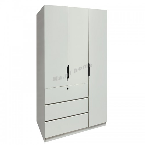 DURO 1200 Hinge door wardrobe with drawers, white color, 816534