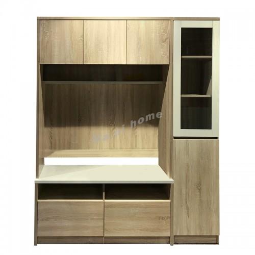 TESS wall unit, Oak + White Cloth