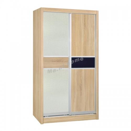 TESS sliding door wardrobe, oak color + cloth pattern