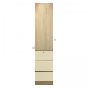 TESS 450 hinge door wardrobe, oak color + cloth pattern, 817356