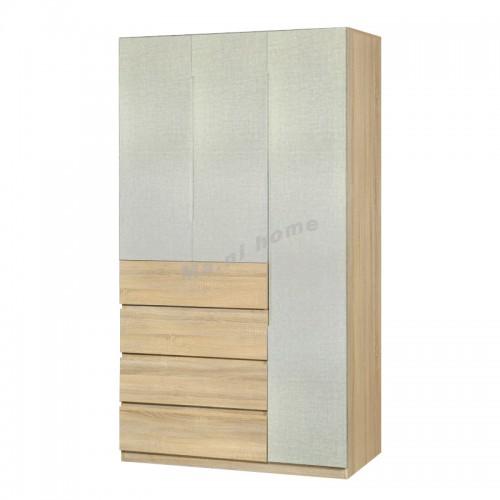 TESS 1200 hinge door wardrobe with drawers, oak color + cloth pattern, 817360