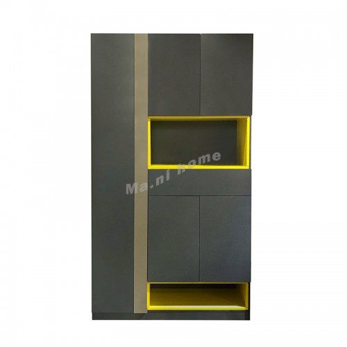 CITTA 1200 tall shoe cabinet, charcoal grey+brown+yellow, 816155