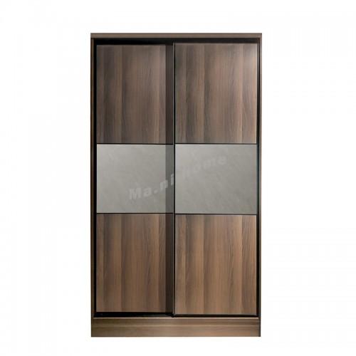 VENIRE sliding door wardrobe, cement color / walnut color