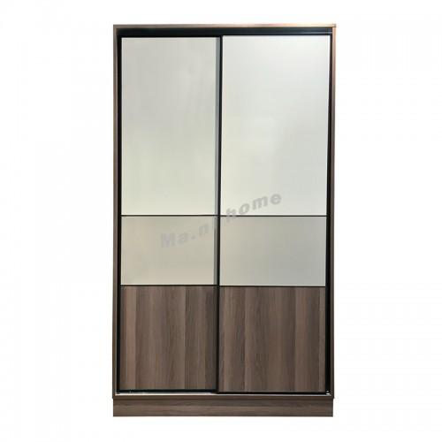 NETTO sliding door wardrobe, light gray cloth color / walnut color