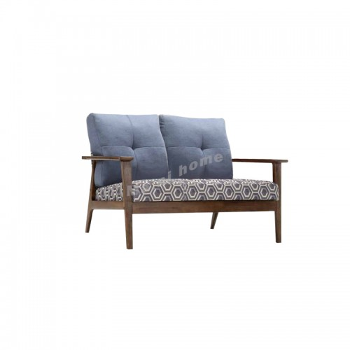 ANDREA sofa, walnut color + floral fabric