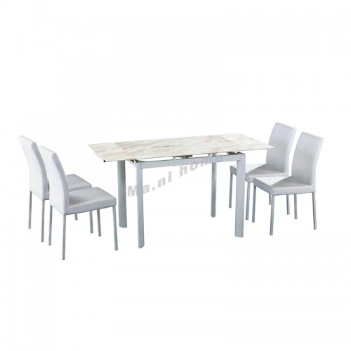 SASSO extendable dining table + 4 chairs, 816149
