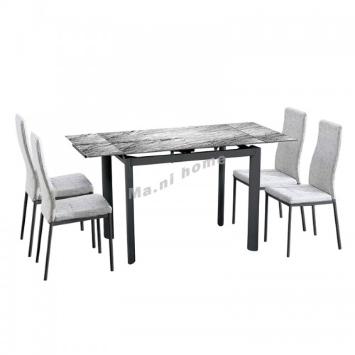 SASSO extendable dining table + 4 chairs, 816150