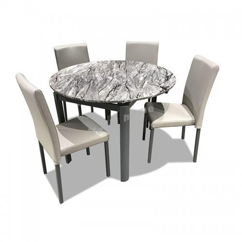 SASSO extendable dining table + 4 chairs, 816402