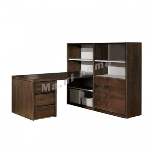 FINN 1870 desk with bookshelf, dark oak veneer, 813560