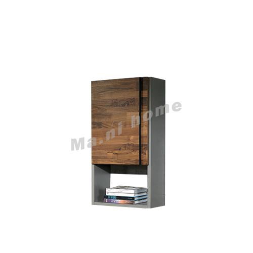 BRICK 1100 wall cabinet, walnut veneer+grey, 813218