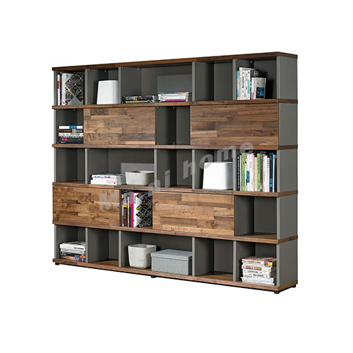 BRICK 2300 bookcase, walnut veneer + grey, 814725