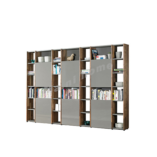 BRICK 3500 bookcase, walnut veneer+grey, 814729