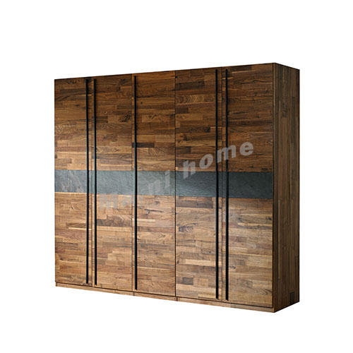 BRICK 2500 wardrobe, walnut veneer + grey, 814753