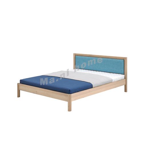 CLEMENT 1900 Bed, solid legs + oak veneer + fabric headboard, 815437