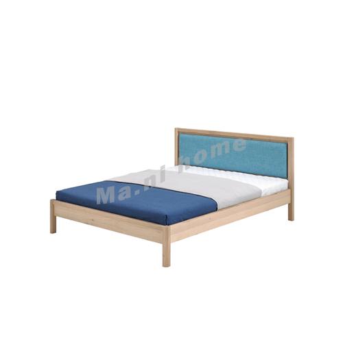 CLEMENT 1600 Bed, solid legs + oak veneer + fabric headboard, 815438