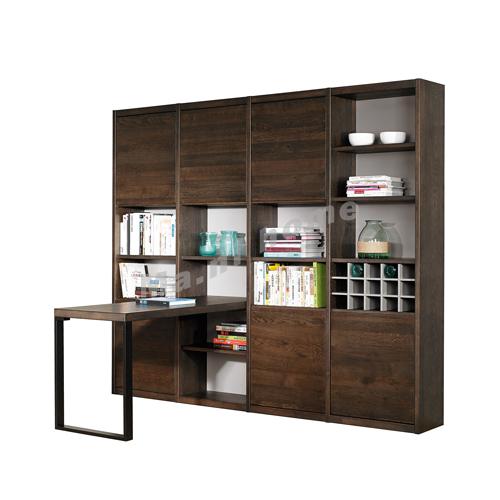 FINN 2500, bookcase with desk, oak veneer, 814807