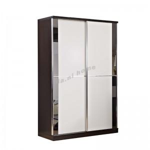 BIGIO sliding door wardrobe, walnut color+white+grey mirror