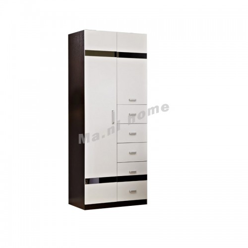 BIGIO 900 hinge door with drawers, walnut color, white color, 811986