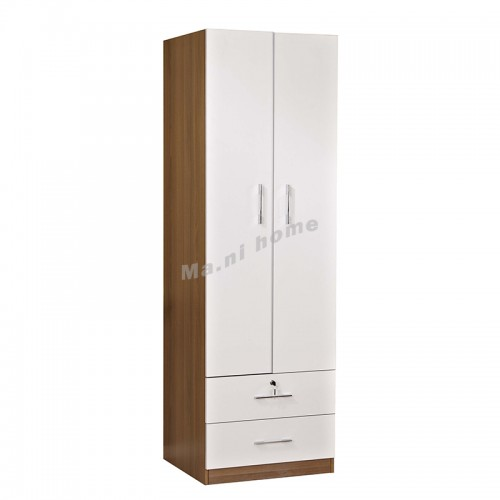 ACCORD 600 hinge wardrobe with drawers , walnut color+white, 815541