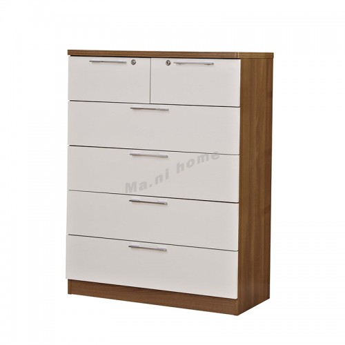 ACCORD 800 Chest of drawers, light walnut color+white, 815546