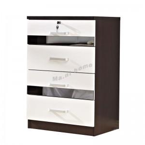 BIGIO 600 Chest of drawers+gray mirror, walnut color+white, 815551
