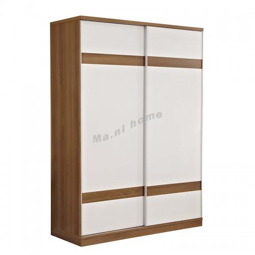NATURA sliding door wardrobe , walnut color + white color