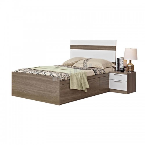 ANGO bed with drawers , gray wood grain + white color