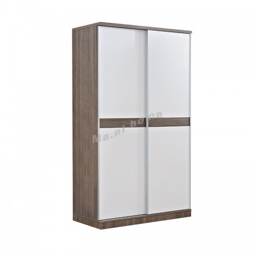 ANGO sliding door wardrobe, gray wood grain + white