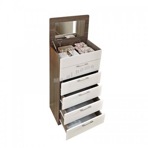 "ANGO 24"" Chest of drawers + dresser mirror , gray wood grain + white , 816115"