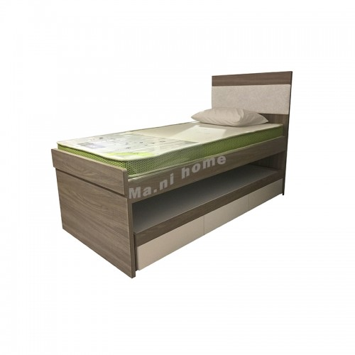 LEGNO bed with extendable bed, oak wood grain + synthetic leather, 816121