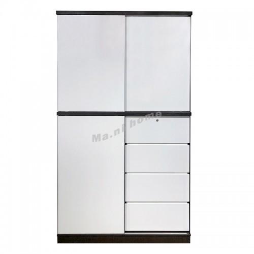 """STUDI 48"""" sliding door wardrobe, walnut color + white , 816488"""