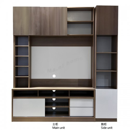 ACCORD wall unit, light walnut + white color
