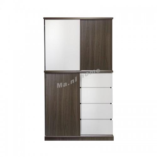 ANGO sliding door wardrobe with drawers , gray wood grain + white