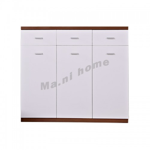 GRID 1200 shoes cabinet, walnut color+gloss white,814920