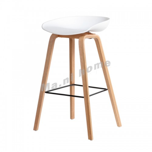 LINEA bar stool, white+natural color legs, 813433