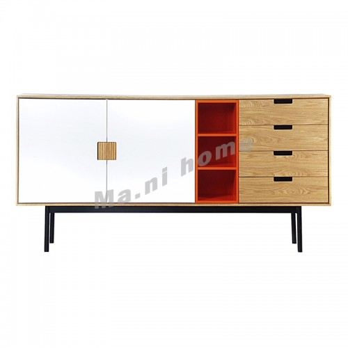 LEGOO 1700 sideboard,  oak veneer+white+orange, 811969