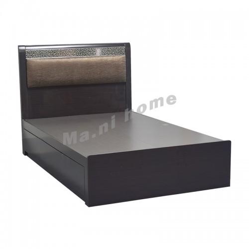 LEOPAR bed with drawers, dark walnut color