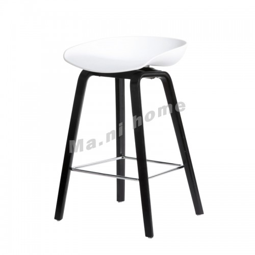 LINEA bar stool, white+black legs, 813426