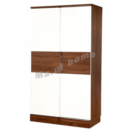 GRID sliding door wardrobe, walnut color+gloss white