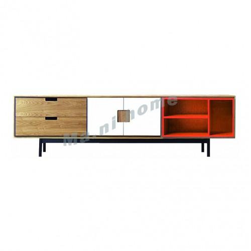 LEGOO 1800 tv cabinet, oak veneer+white+orange, 811968