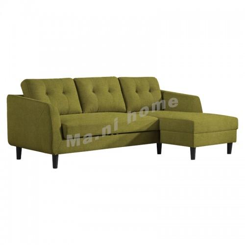 HANN 曲尺三座位布藝梳化床(右),綠色,813797