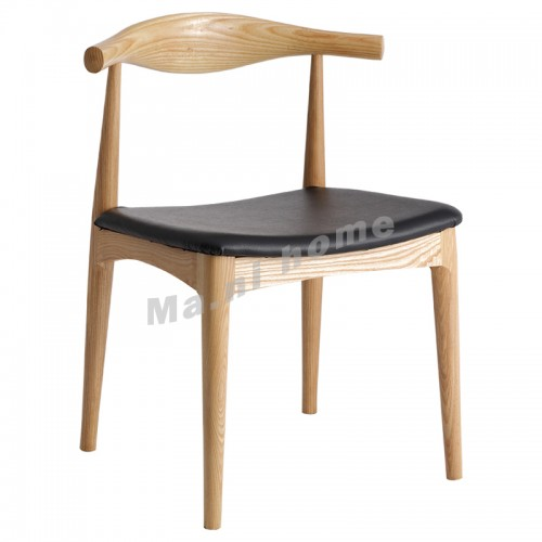 LINEA dining chair, synthetic leather, black+natural wooden legs, 813522