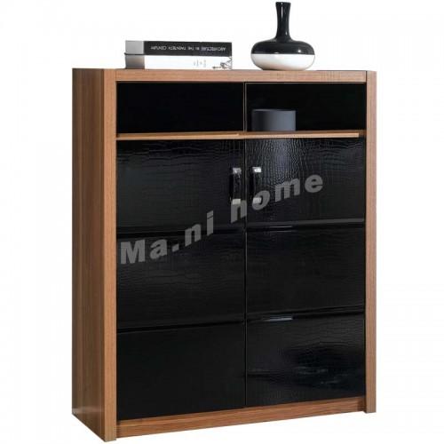 CUBO 800 shoes cabinet, oak veneer+gloss black,804927