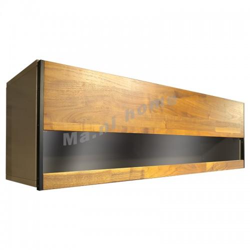 BRICK 1100 掛牆柜, 灰色+胡桃木飾面+清玻璃, 810957