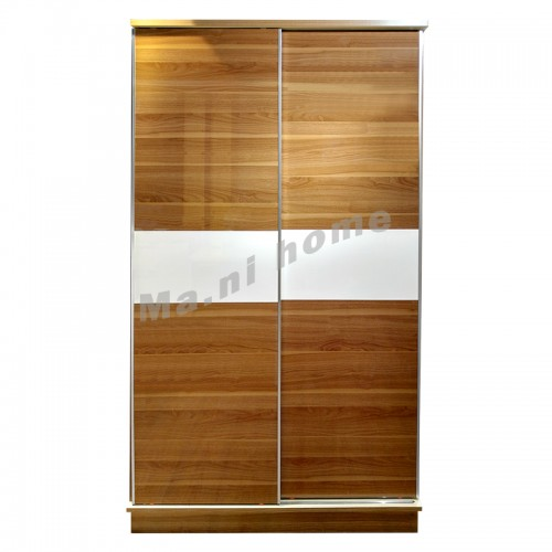 FORTE 1380 sliding door wardrobe, walnut color+gloss white, 813490