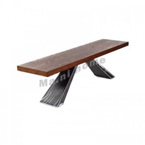 BEAMS 1600 bench, veneer+metal, walnut color, 810125
